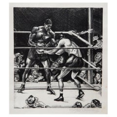 Joseph Golinkin Original Lithograph, 1935, Louis-Baer Boxing Match