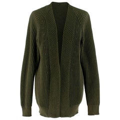 Joseph Green Ribbed Knit Open Cardigan estimated SIZE M