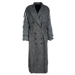 Joseph Grey Check Jersey and Jacquard Wool Al Maxi Overcoat L
