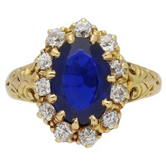 Joseph Harris Antique Natural Burmese Sapphire Diamond Cluster Ring