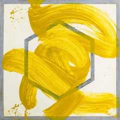 """REO Four"", expressionistic painting on paper, geometric, Indian yellow, gray."