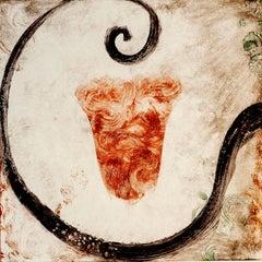 """""""Cria 15"""", Italianate painterly monoprint in black, sanguine, sepia, umber."""