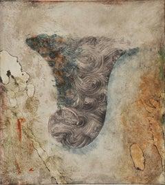 Siren VIII,  Italianate painterly monoprint, grey, sanguine, turquoise, umber.