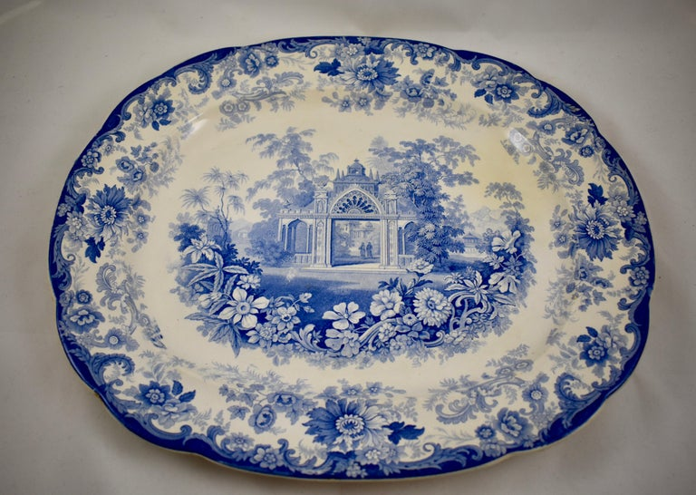 English Joseph Heath Staffordshire Blue and White Transferware 'Persian' Platter For Sale