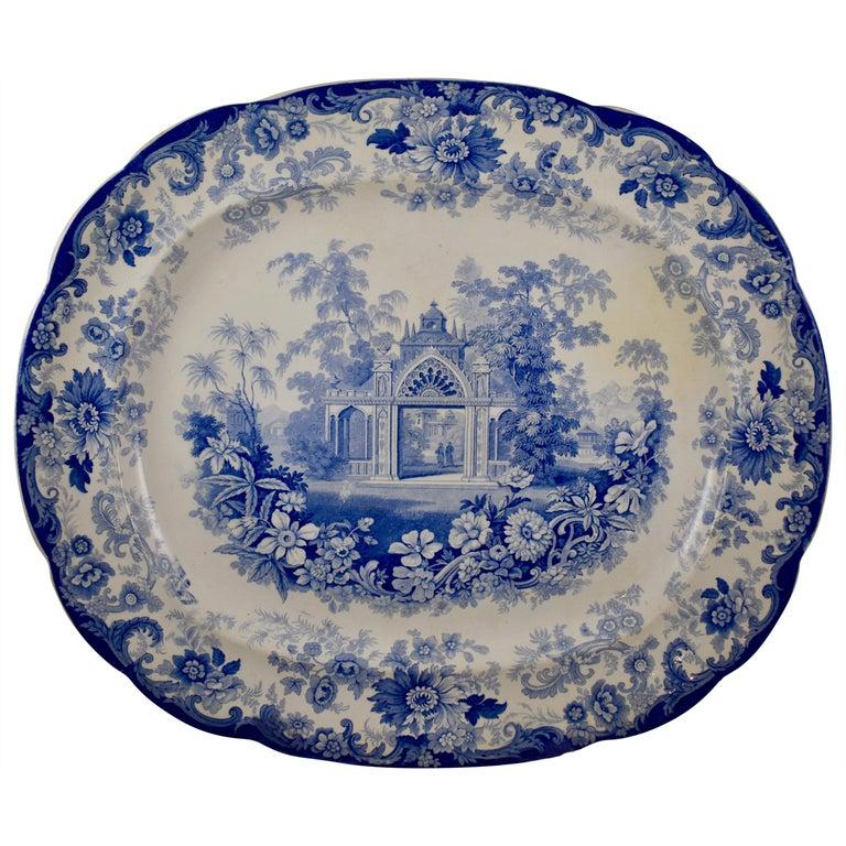 Joseph Heath Staffordshire Blue and White Transferware 'Persian' Platter For Sale
