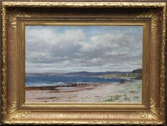 Kintyre from Arran - Scottish art 19thC Impressionist coastal oil painting