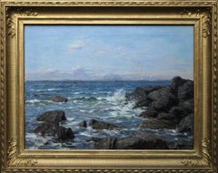 Rocky Coastline - Scottish art 19thC Impressionist coastal seascape oil painting