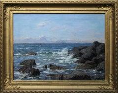 Rocky Coastline - Scottish art 19thC Impressionist coastal seascape oil painting
