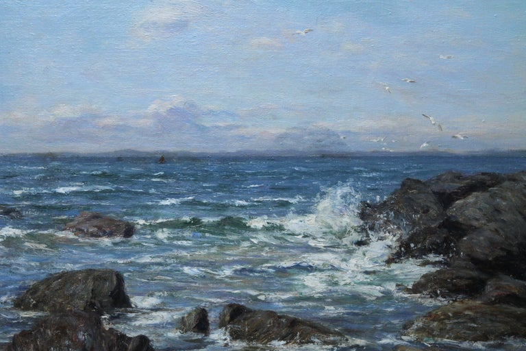 A superb 19th century Scottish Impressionist seascape marine oil painting, possibly around Ayrshire, by noted Scottish artist Joseph Henderson RSA and which dates to circa 1890. The painting is of a rocky coastline with waves splashing over the