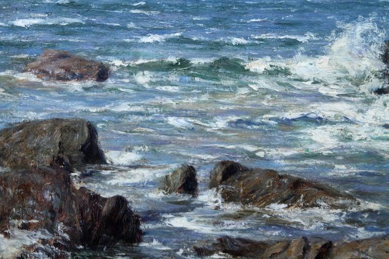 Rocky Coastline - Scottish art Impressionist coastal seascape oil painting For Sale 1