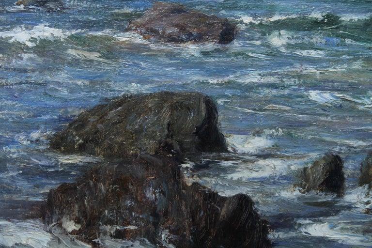 Rocky Coastline - Scottish art Impressionist coastal seascape oil painting For Sale 3