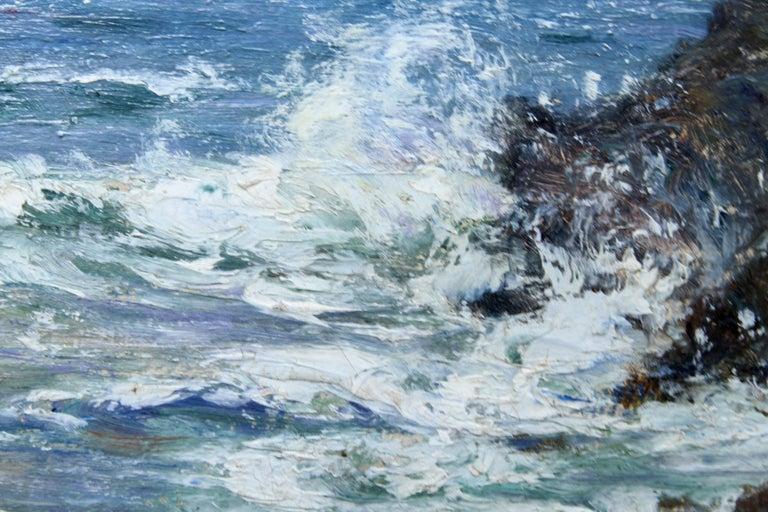 Rocky Coastline - Scottish art Impressionist coastal seascape oil painting For Sale 5