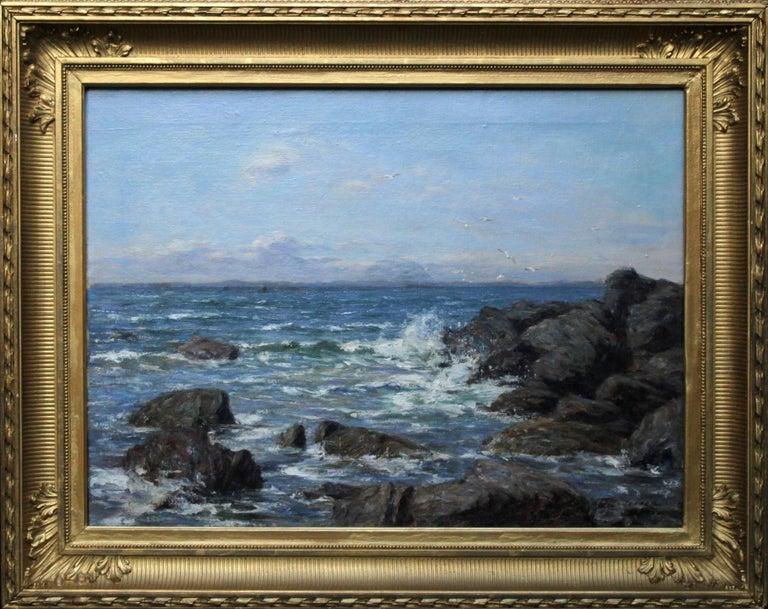 Joseph Henderson R.S.W Landscape Painting - Rocky Coastline - Scottish art Impressionist coastal seascape oil painting