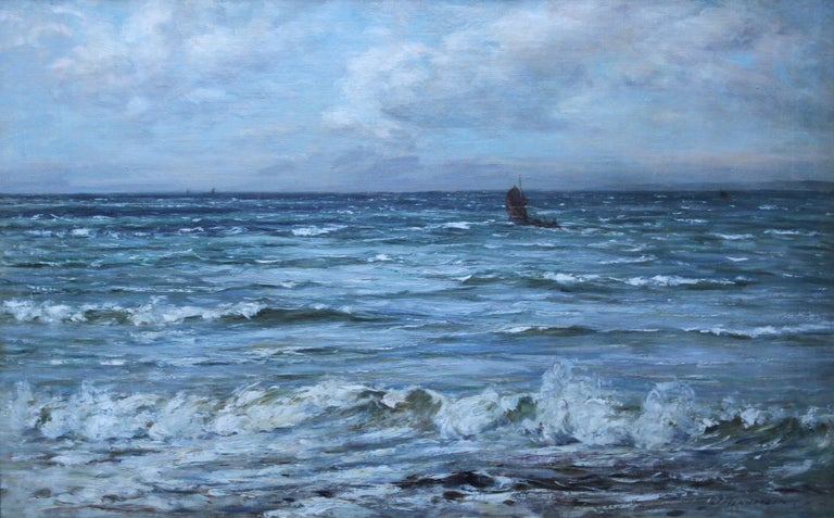 Scottish Seascape -Scottish Impressionist 19th century art oil painting Scotland For Sale 7