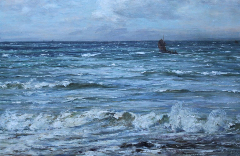 Scottish Seascape -Scottish Impressionist 19th century art oil painting Scotland - Gray Landscape Painting by Joseph Henderson R.S.W