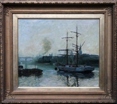 The Port of Newcastle Upon Tyne - British 1914 marine art oil painting