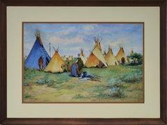 Camp with Blue Tepee