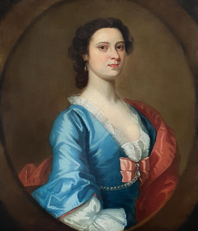 Portrait of a Lady in a Blue Dress c.1740 Circle of Joseph Highmore - Old Masters Painting by Joseph Highmore
