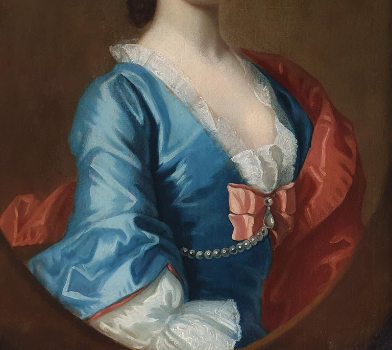 Portrait of a Lady in a Blue Dress c.1740 Circle of Joseph Highmore - Black Portrait Painting by Joseph Highmore