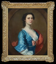 Portrait of a Lady in a Blue Dress c.1740 Circle of Joseph Highmore