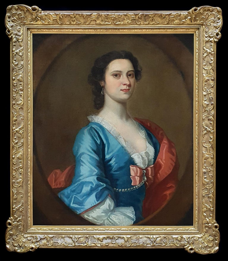 Portrait of a Lady in a Blue Dress c.1740 Circle of Joseph Highmore - Painting by Joseph Highmore