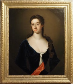 Portrait of Lady, in a blue dress with a red sash