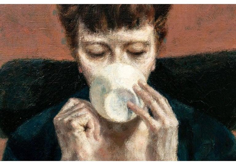 Mid-Century Modern Joseph Hirsch Oil on Canvas, Scene with Semi Nude Female F For Sale