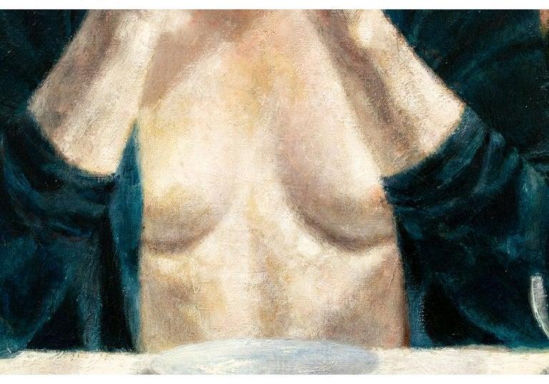 Joseph Hirsch Oil on Canvas, Scene with Semi Nude Female F In Good Condition For Sale In Bridgeport, CT
