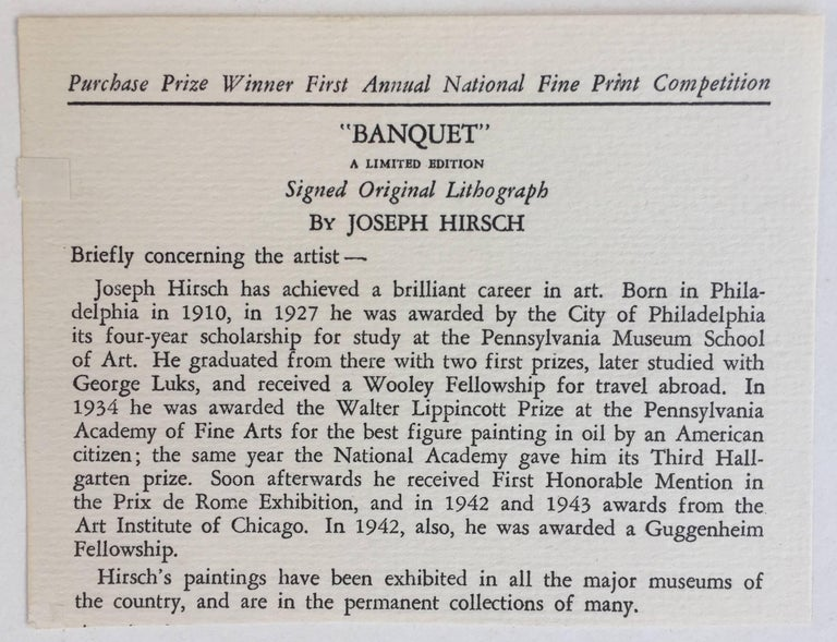 BANQUET - Gray Figurative Print by Joseph Hirsch