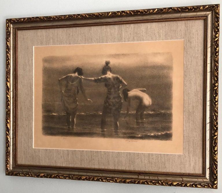 "Joseph Hirsch ""September Morn"" Rare Variant Signed / Numbered, circa 1960s - Print by Joseph Hirsch"