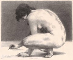 Nude drawing (Nude on her haunches draws )