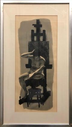 Nude Model Reading Mid-Century Modern Art