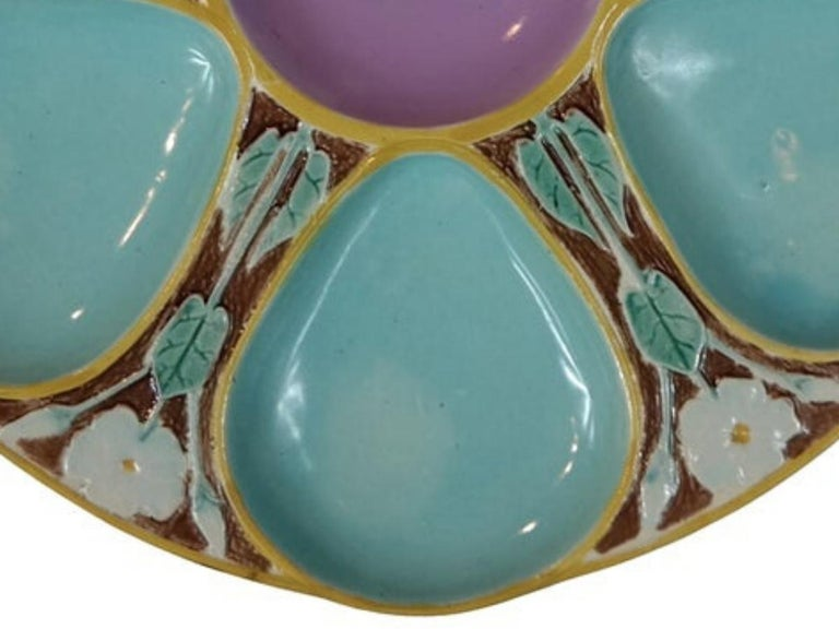 Molded Joseph Holdcroft Majolica Oyster Plate, English, circa 1875 For Sale