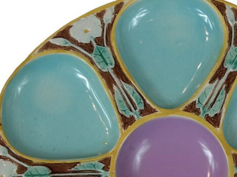 Joseph Holdcroft Majolica Oyster Plate, English, circa 1875 In Good Condition For Sale In Banner Elk, NC
