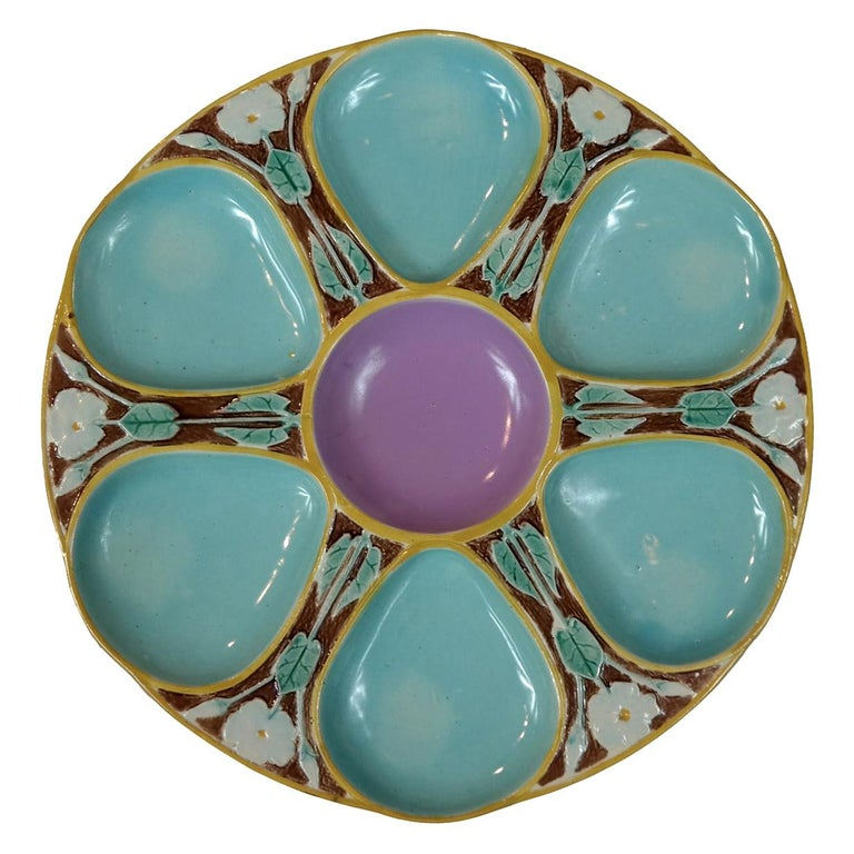 Joseph Holdcroft Majolica Oyster Plate, English, circa 1875 For Sale