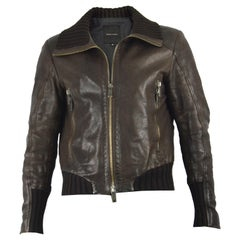 Joseph Homme Men's Brown Italian Leather Biker Jacket with Ribbed Knit Collar