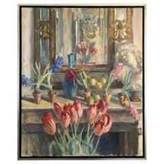 Joseph 'Joe' Plaskett Artist's Studio Oil on Canvas Still Life Flowers Painting