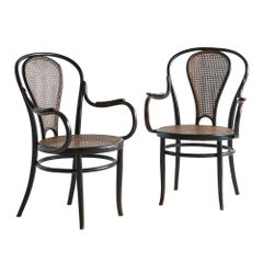 Joseph Kohn, Black Bentwood and Caned Pair of Chairs, 1900s