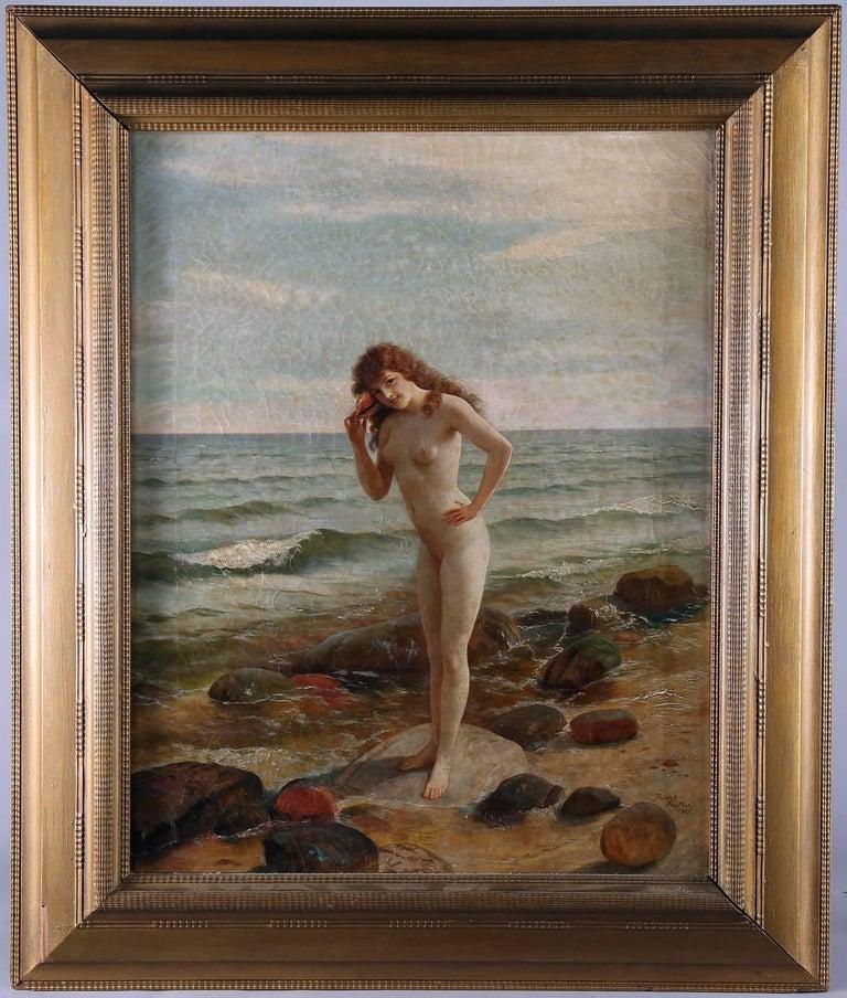 Sally At The Seashore - American Realist Painting by Joseph Kostka