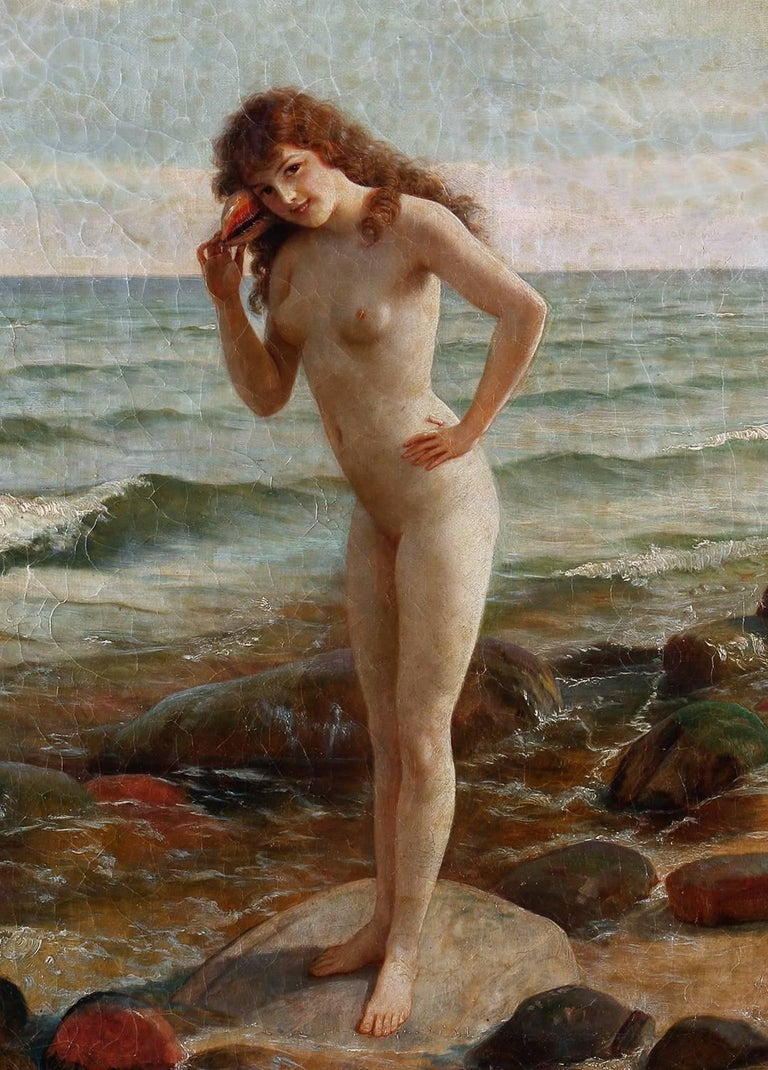 Sally At The Seashore - Gray Nude Painting by Joseph Kostka