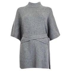 JOSEPH light grey cashmere TIE-WAIST Short Sleeve Sweater M