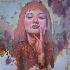 """Attitude"" small scale portrait of a redhead with bangs in oil paint"