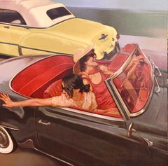 """Fancy Free"" oil painting of two women in a vintage convertible"