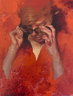 """Making Adjustments"" portrait of a woman in sunglasses on orange background"