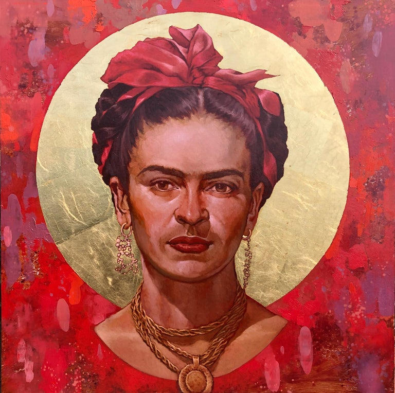 """Joseph Lorusso Portrait Painting - """"San Frida II"""" oil painting of Frida Kahlo with gold leaf and red background"""