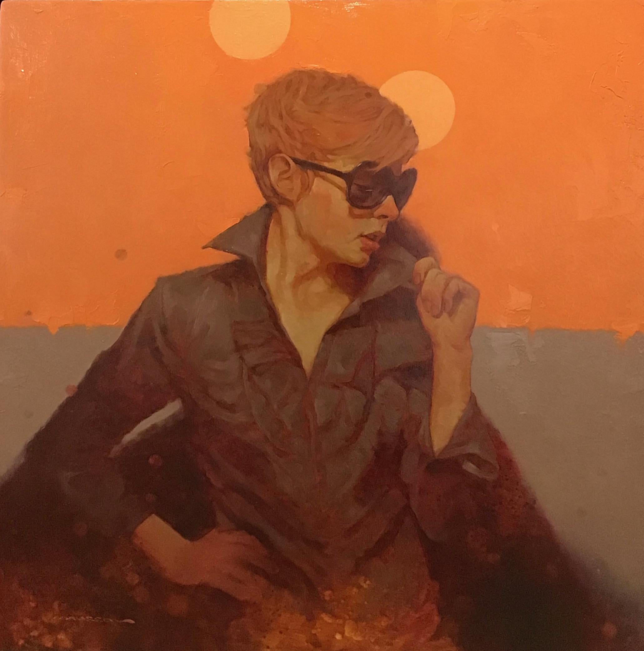 """""""Shades"""" oil portrait of short haired woman with sunglasses on orange background"""