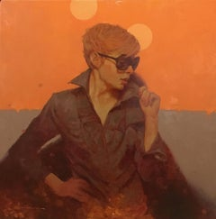 """Shades"" oil portrait of short haired woman with sunglasses on orange background"
