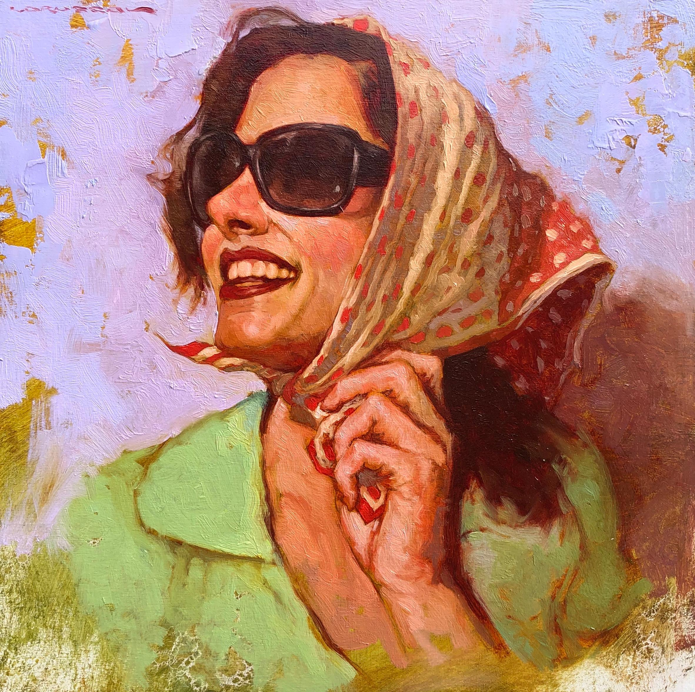 """""""Summer Look"""" oil painting, portrait of a woman in sunglasses and head scarf"""