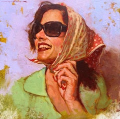 """Summer Look"" oil painting, portrait of a woman in sunglasses and head scarf"