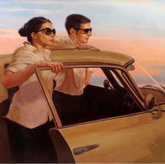 """""""Taking it All In"""" oil painting of woman and man standing by vintage yellow car"""
